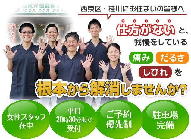伏古桃山駅徒歩8分、平日20時まで、ご予約優先制、駐車場完備